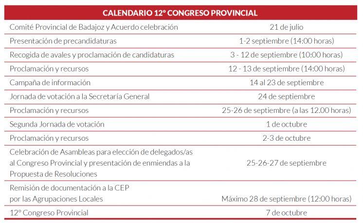 El Comité provincial aprueba el Calendario para el 12º Congreso Provincial